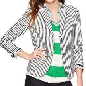 GAP Pinstripe Linen Blazer Jacket Size 2